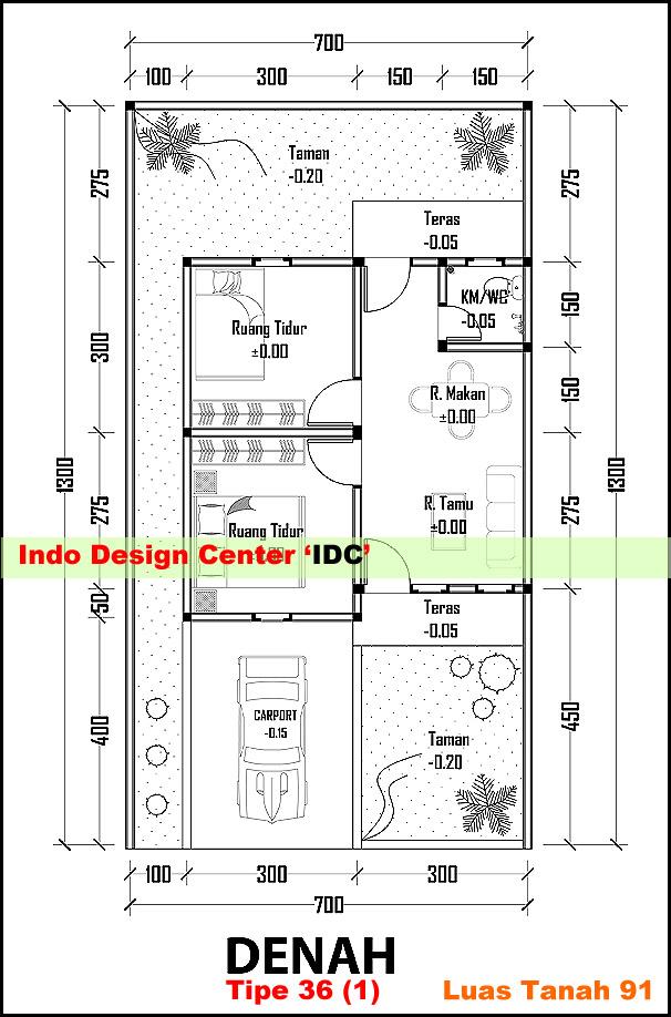 denah rumah tipe 36 autocad desain rumah