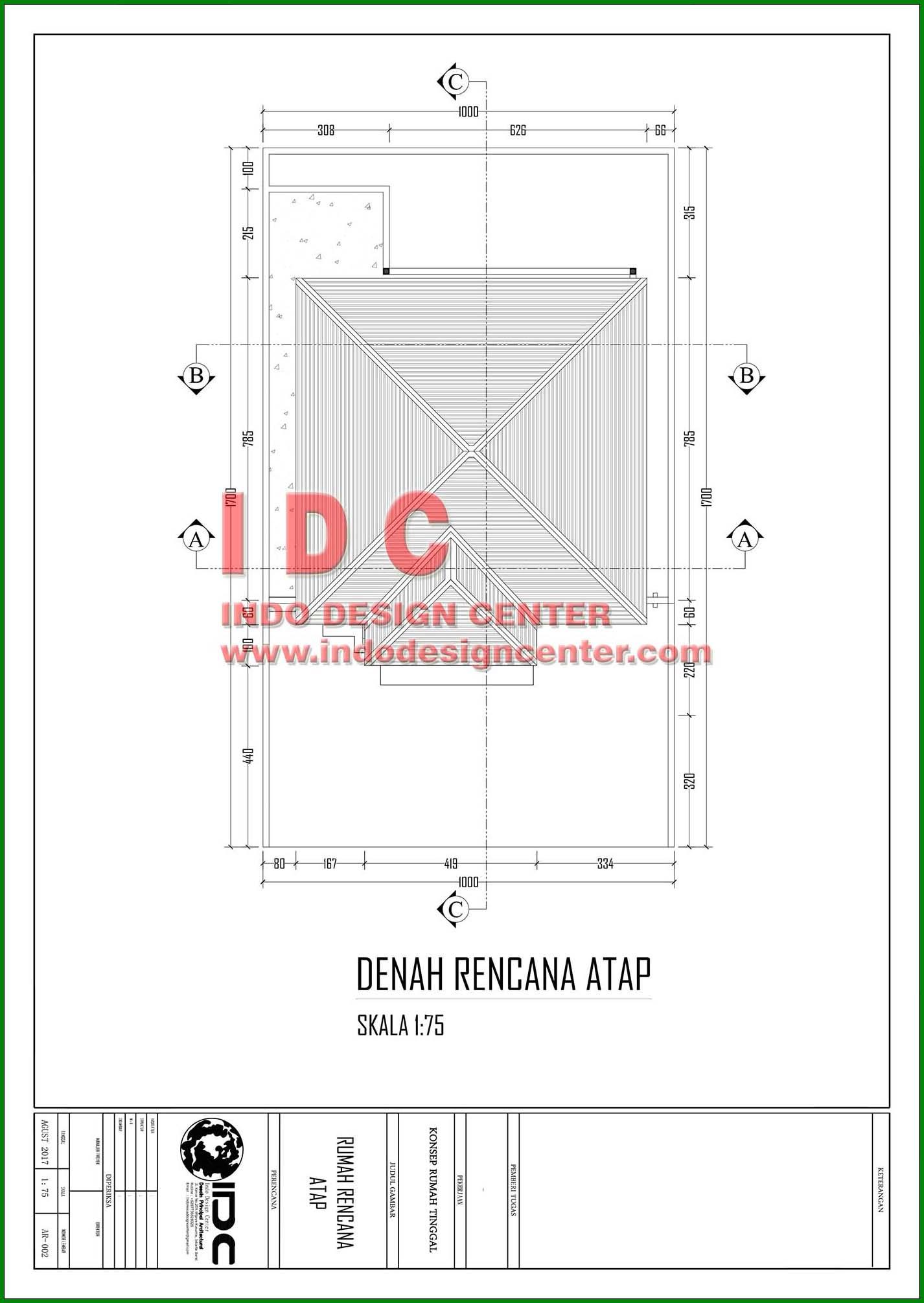 Gambar Kerja Rumah Tinggal Type 86 Hal 002 Indo Design Center