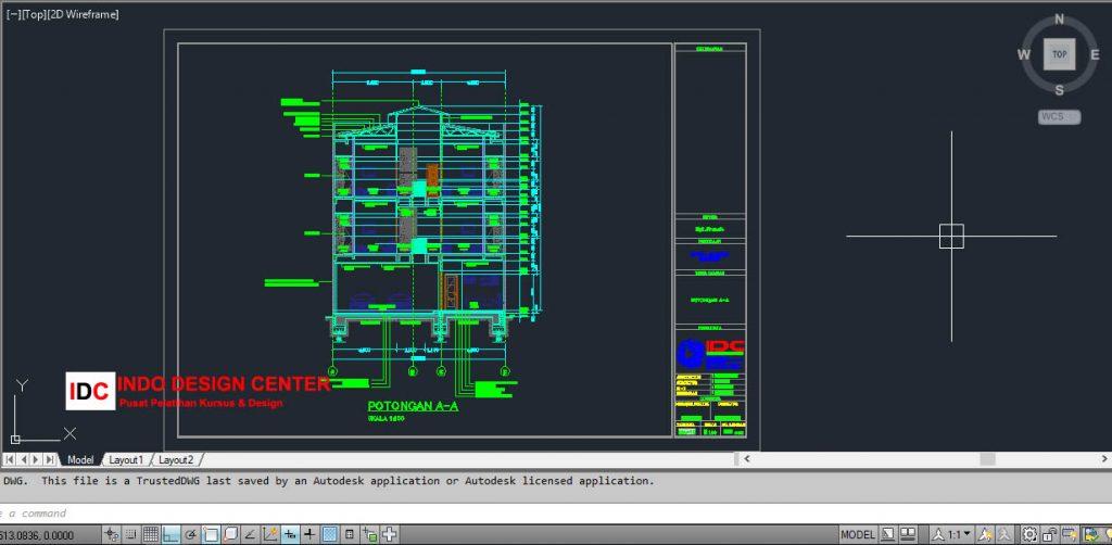 Gambar Potongan Rumah Autocad dwg Kursus AutoCAD 2D 3D Di Tangerang Terbaik (1)