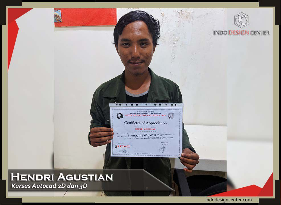 indodesigncenter - Hendri Agustian - Autocad 2D & 3D - Sertifikat - 13 Februari 2020